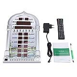 デジタルAZAN時計、自動イスラム教徒イスラム祈り時計AZAN祈り警報(EUプラグシルバー)電池除く