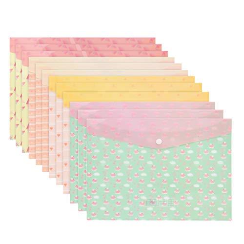 Carpetas para Archivo,Coofit 12PCS Carpetas Escolares Carpeta Clasificadora Plastico A4 De La Prenda Impermeable Del PVC De La Carpeta plastico De Archivos De