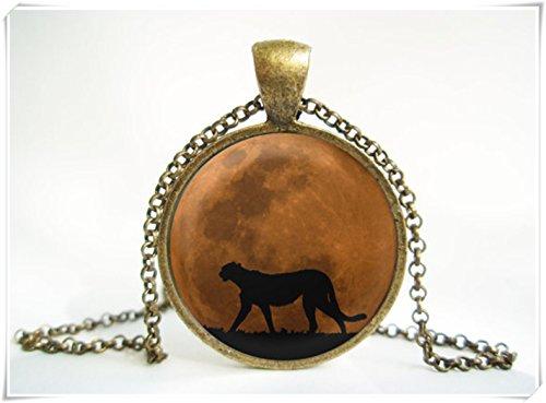 Elfhaus Mond Cougar Anhänger, filigrane Halskette exFF0C, kuppelförmiger Glasschmuck, reine Handarbeit