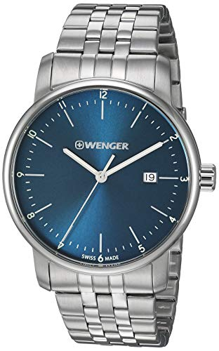 Wenger Men's Urban Classic Swiss-Quartz Stainless-Steel Strap, Silver, 19.4 Casual Watch (Model: 01.1741.123)