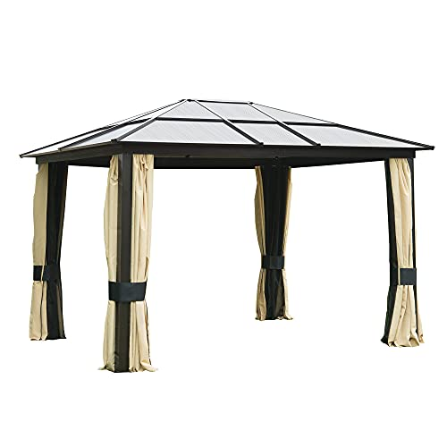 Outsunny 3 x 3.6m Patio Aluminium Gazebo Canopy Marquee Party Tent Hardtop Roof Garden Shelter w/Mesh & Side Walls