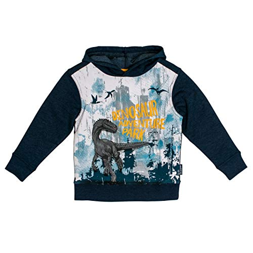 Salt & Pepper Jungen Kapuzensweaty Trouble Maker Dino Adventure Park Sweatshirt, Blau (Ink Blue Melange 475), 92 (Herstellergröße: 92/98)
