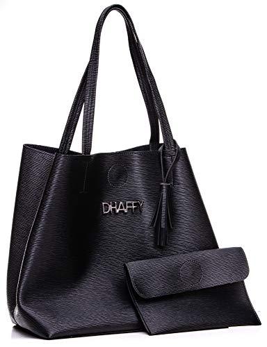 Bolsa Feminina Dhaffy Preto, Saco, Acompanha Necessaire. cor:preto;tamanho:G