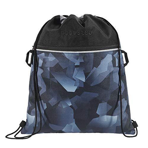 """Coocazoo Sportbeutel RocketPocket """"Grey Rocks"""", grau, mit Reißverschlussfach und Kordelzug, reflektierende Elemente, Schlaufen zur Befestigung am Schulrucksack, Jungen ab der 5. Klasse, 10 Liter"""