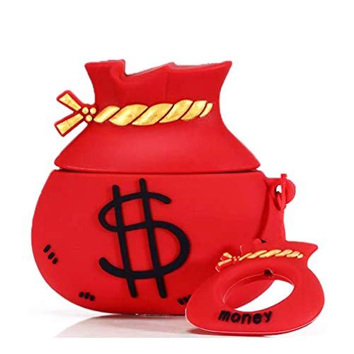 For AirPods Case,Cartoon Cute Soft Silicone Kawaii for Airpod Cover,AirPods Accessories Kits Funny Dollar Designer for AirPods Case for Apple Airpods 2 & 1 Cool Fun Girls Teens Boys Men Money Bag Red