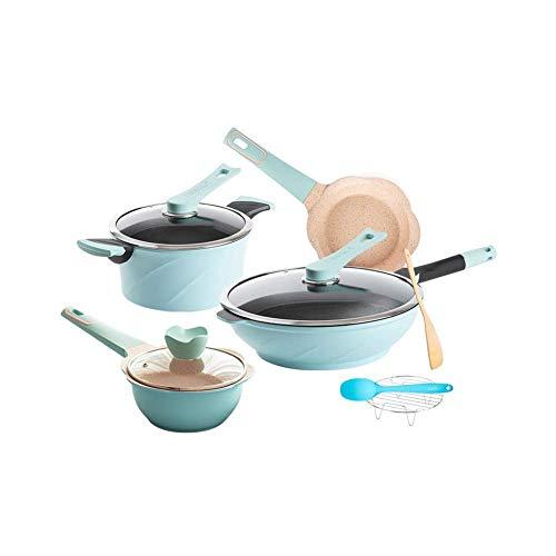 Cuisine Batterie de cuisine, 4 pièces, casseroles et poêles, dur en aluminium anodisé antiadhésifs (Couleur: Rouge) kyman (Color : Blue)