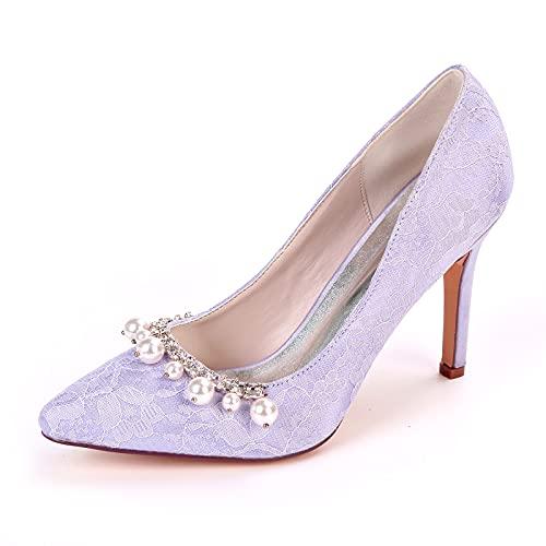 Zapatos de Boda para Mujer, Sexy Zapatos de Tacón con Pedrería 9.5cm...