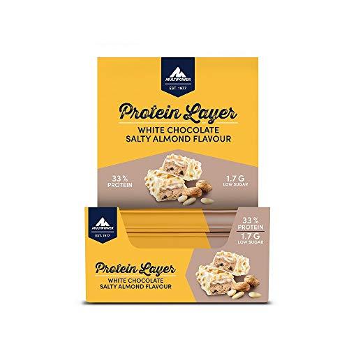Multipower Protein Layer Eiweißriegel – 18 x 50 g Protein Riegel Box – kalorienarmer Energieriegel – Salty Almond