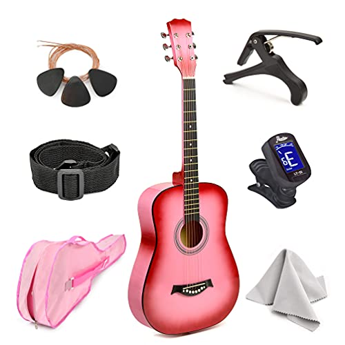 """Master-play Beginner Wood Acoustic Guitar 38"""" For Boys/Girls/Teens With Accessories Kit, Case, Strap, Pick, Digital Tuner, Extra Strings, Capo, Wash Cloth (Pink Gradient)"""