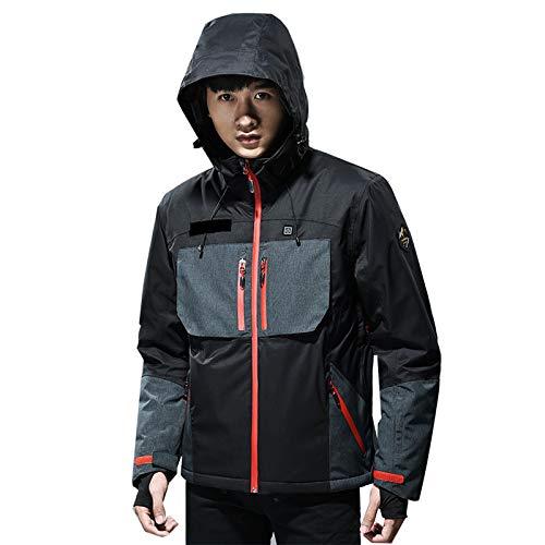 ELEAMO Fast Heat - Chaquetas de esquí para hombre, resistente al agua, con capucha, cortavientos, para senderismo, montañas, cálidas, largas y gruesas y resistentes al desgaste, color negro, XXL