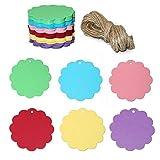 100 Etiquetas de Papel Kraft,Etiquetas de Regalo,Equipaje Etiquetas de las etiquetas de Boda con 30 Metros de Cuerda de Yute para decorar regalos(6x6cm)