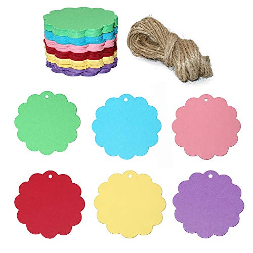 120PCS Colorful Craft Scalloped Paper Label Tags with 66 Feet Jute Twines String for Wedding Birthday Party Decoration Gifts, Organizing, Arts & Crafts