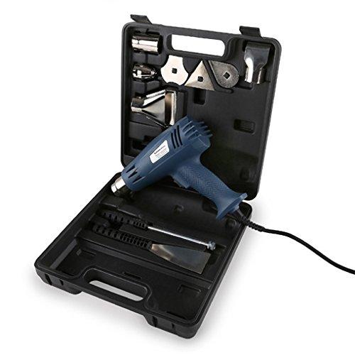 EBERTH 2000 Watt Heißluftpistole mit Koffer und umfangreichem Zubehör (zwei-Stufen Heißluftgebläse, 300°C - 600°C)