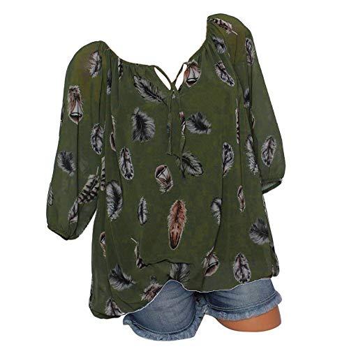 Damen Oberteile V-Ausschnitt Bluse Übergröße T-Shirt Kurzarm große größen Casual Tunika Bandagen Spitze Tops Frauen Party Sommer Strand (4XL, a-Army Green)