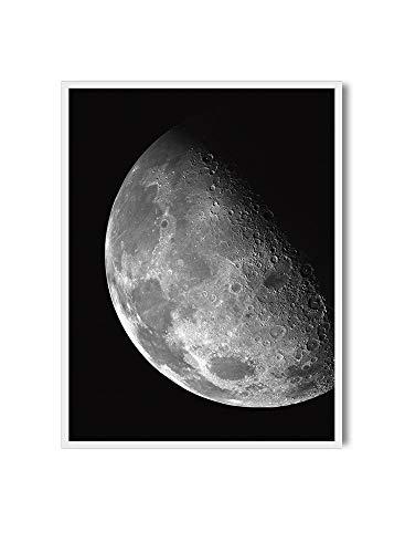 MILUKA Affiche pour encadrer dans des Tableaux   Poster de Lune, Espace Blanc et Noir Moon   Crescent Moon   Plusieurs Tailles (20 x 30 cm)