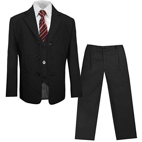 Paul Malone - Kinderanzug (Kommunionsanzug, Konfirmationsanzug, Taufanzug) schwarz 5tlg. Sakko + Hose + Weste + Hemd + Krawatte 18