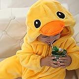 Pijama unicornio Bebé Onesie de Kawaii Pato Amarillo Kigurumi cremallera Conjunto de pijama infantil muchacha del muchacho ropa linda caliente suave franela Mono Disfraz de animal (Size : 18M)