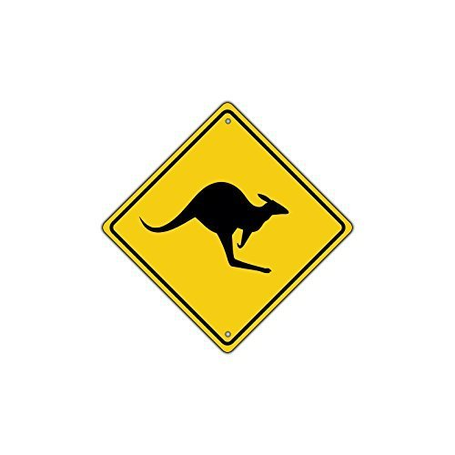 Dekoration Schild Känguru mit Graphic Symbol CROSSING Animal Road Schild retro Metall Sicherheit Geschenk
