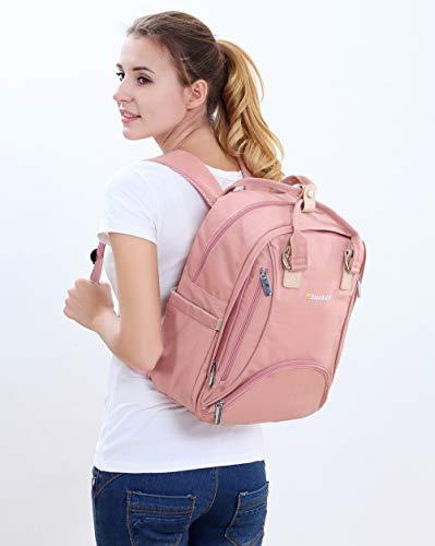 Wickeltasche Rucksack - Multifunktions-Wickeltasche Pañaleras Modernas Wickeltasche für Mädchen, großes Fassungsvermögen, stilvoll und langlebig, Pink-Grau