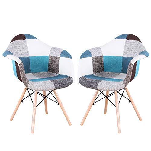 INJOY LIFE - Juego de 2 sillas de comedor modernas de mediados de siglo, sillas de cocina de tela de patchwork multicolor, sillones para el hogar, comedor, cocina, sillas de estar, azul