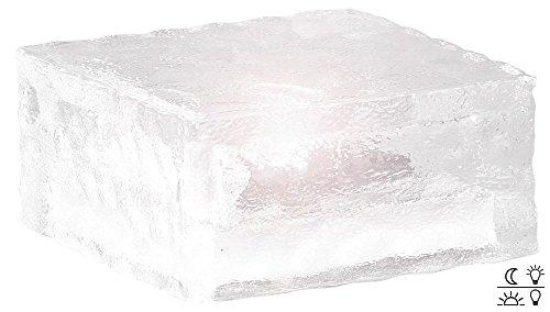 Lunartec Solarsteine: Solar-LED-Glasbaustein mit Lichtsensor, groß (10 x 10 cm) (Solar Leuchtsteine)