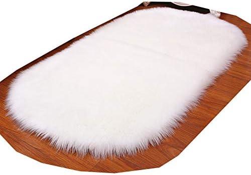 Super intense SALE HUAHOO Oval Faux Fur Sheepskin Rug Carpet free Kids White Ivory Soft