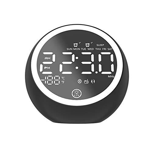 ZLSP Reloj Alarma Digital Radio, Altavoces Bluetooth, Doble Alarma, USB función de Cargador, Despertador, visualice Regulable LED, portátil cabecera Despertador (Color : Negro)