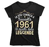 Vulfire Camiseta para mujer, idea de regalo para cumpleaños, 1961 La Vita empieza a 60 años Negro S