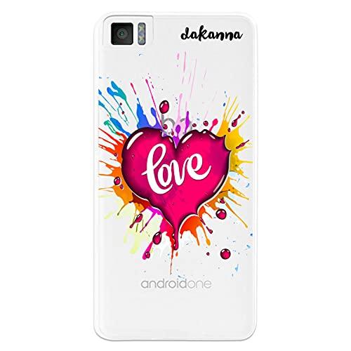 dakanna Funda para [ Bq Aquaris M4.5 - A4.5 ] de Silicona Flexible, Dibujo Diseño [ Corazón Watercolor con Frase Love ], Color [Fondo Transparente] Carcasa Case Cover de Gel TPU para Smartphone