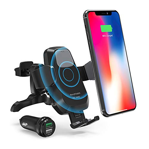 RAVPower Wireless Qi Fast Charger 7.5W/ 10 W Car Mount Kit, Automatic Phone Holder Air Vent, Compatible with iPhone XR XS Max X 8 Plus Galaxy S9 S8...