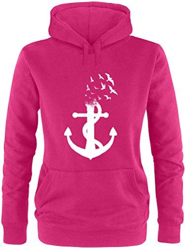 EZYshirt® Anker Ocean Damen Hoodie | Damen Kapuzenpullover | Damen Pullover