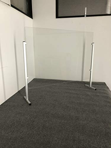 Barriera protettiva da virus, in vetro infrangibile, schermo divisorio parafiato, cm 80x94x25, altezza regolabile, telaio in alluminio, collegabile all'infinito.