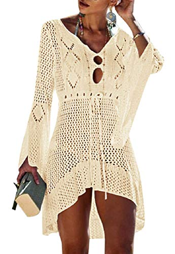Tuopuda Bikini Cover Up Crochet Damen Strandkleid aushöhlen Stricken Swimsuit Sommerkleid mit V-Ausschnitt Strandrock Bell Sleeve Strandponcho Sommer Beachwear Bademode Strand Badeanzug