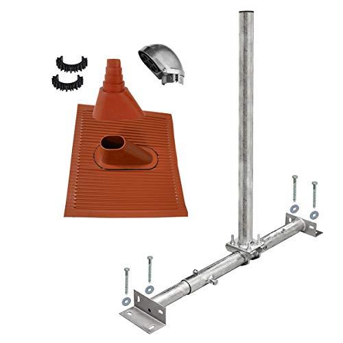 PremiumX Dachsparrenhalter Satellitenschüssel Montage Set Sparrenhalter feuerverzinkt ALU-Dachziegel rot SAT Mastkappe