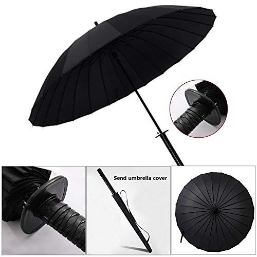 Paraplu 24-Bone Automatische Creatieve Persoonlijkheid Lange Handvat om Paraplu Oppervlak Regen en Regen Dual-Use Golf Paraplu Lichtgewicht Draagbare Sterke Winddichte Comfortabele Grip 24 Zwart
