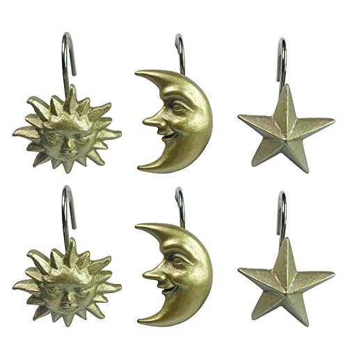 Twofishes 12 PCS Fashion Decorative Home Bathroom Vintage Style Gold Shower Curtain Hooks Rings (Sun: Gold ; Star:Gold ; Moon:Gold )