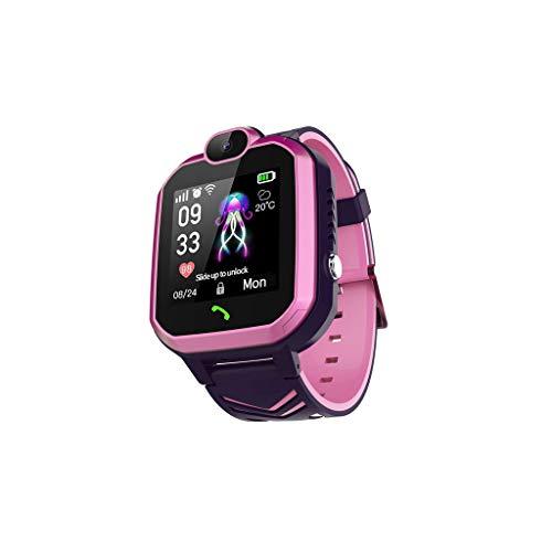 Smartwatch Reloj Inteligente con GPS para niños,Reloj Inteligente antipérdida,Adecuado para niños y niñas,Resistente al Agua IP67,Llamada bidireccional,Huella histórica,Ayuda de Emergencia (Rosa)