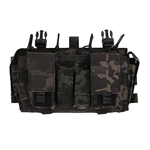 EMERSONGEAR Tactical Magazine Pouch,Mag Pouch with Utility Pouch, Tactical Vest Chest Rig Bag,MF Style Gen IV Compatible Placards for Magazines Multicam Black