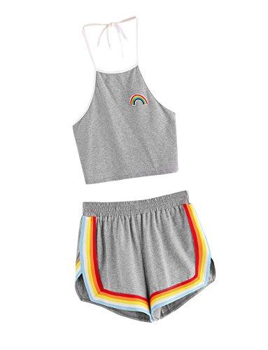SweatyRocks Women's 2 Piece Set Halter Crop Top and Shorts Set Grey L