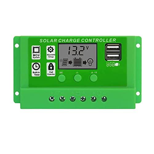 Xuanshengjia Controlador De Carga Solar, Regulador Inteligente del Panel Solar De 12V / 24V con Puerto USB Dual Y Pantalla LCD, Regulador De Cargador Solar De Pantalla Corriente DUL DC