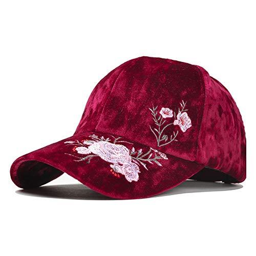 CHENDX Hochwertiger Hut, Herbst und Winter Dicke warme Mütze weibliche koreanische Stickerei Blume Baseball Cap Gold Samt Cap Street Baseball Cap Hipster (Farbe : Rot, Größe : 56-60CM)