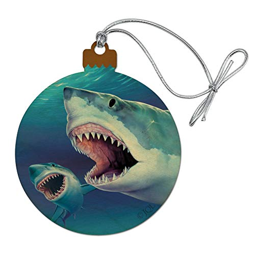 GRAPHICS & MORE Great White Sharks Ocean Pair Scuba Diving Wood Christmas Tree Holiday Ornament