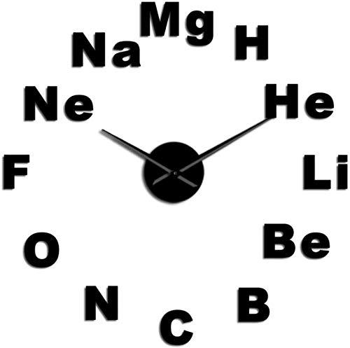 ZYZYY Reloj de pared periódico de la mesa DIY gigante reloj de pared química ciencia espejo etiqueta grande reloj de pared decoración aula