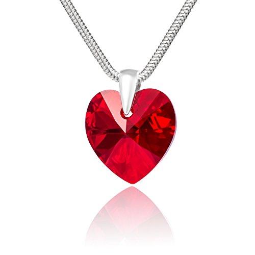 LillyMarie Damen Halskette Sterling-Silber 925 original Swarovski Elements Herz rot Schmuck Etui Geschenke an die Beste Freundin