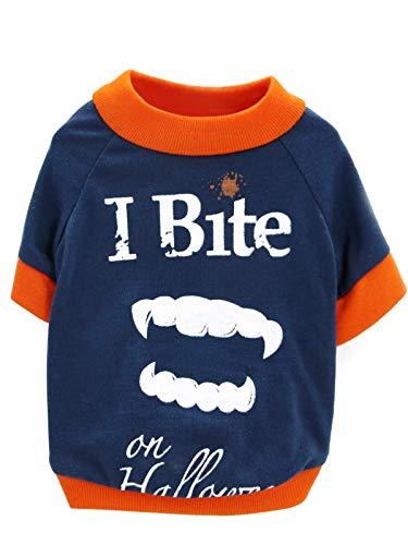 BesserBay Puppy [I Bite on Halloween] Vampire Teeth Printed Tees Navy Suit Cosplay Costume Pet Dog Cat Doggie Fall T Shirt Orange