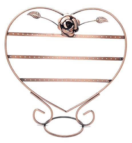 R&F srls Espositore STEND Cuore con rosa Rame Orecchini portabigiotteria