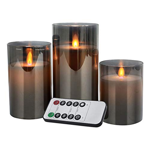 Christmas Flameless Candles Flickering Candle LED Glass Candle Battery Operated Pillar Real Wax for Home Christmas Remote Control 24 Hours Timer, 4' 5' 6' Pack of 3