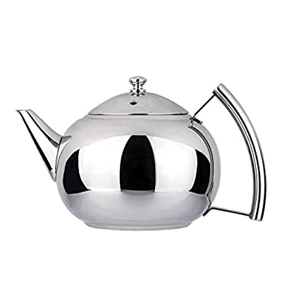 2 Liter Tea Pot with Infuser for Loose Leaf Tea Stainless Steel Coffee Tea Kettle 8 Cup Induction Stovetop Teapot Strainer for Boiling Hot Water Mirror Finish 2.1 Quart 68 Ounce by Onlycooker