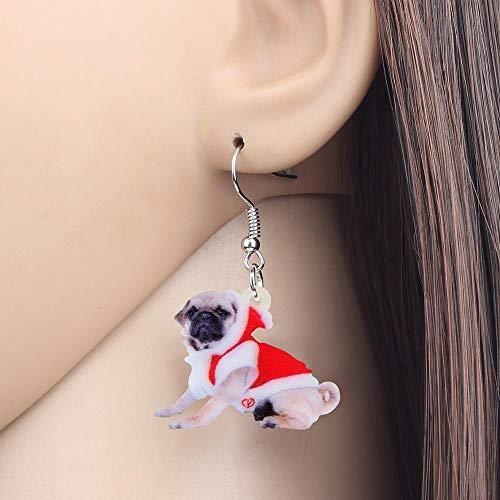 EHXWL Disfraz de acrílico navideño Vestido Pug Pendientes de Perro Drop Dangle...