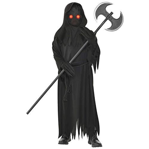 Amscan 9904730 - Kinderkostüm Sensenmann, schwarze Robe, Gürtel, Maske und Handschuhe, Grim Reaper, Karneval, Mottoparty, Halloween